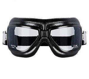 Óculos Aviador Retro Motociclista Goggles Sky Black Vintage