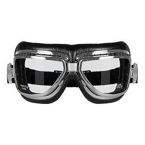 Óculos Aviador Retro Motociclista Goggles Sky Cromado Vintag