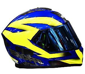 Capacete Bieffe B12 Flat Azul Amarelo + Viseira Camaleão