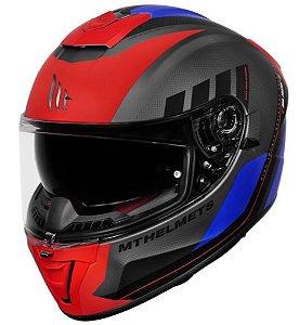 Capacete MT SV Blade 2 Plus Vermelho Preto Azul Fosco
