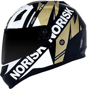 Capacete Norisk ff391 Furious Preto Dourado Branco
