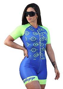 Macaquinho Ciclismo Feminino Race Ciclopp Bike Amarelo Neon
