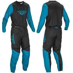 Conjunto Motocross Trilha Cross Fly F16 Preto Azul