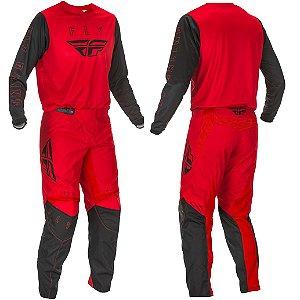 Conjunto Motocross Trilha Cross Fly F16 Preto Vermelho