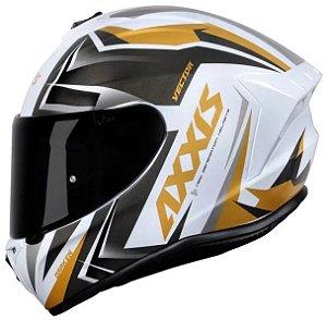 Capacete Axxis Draken Vector Preto Branco Dourado