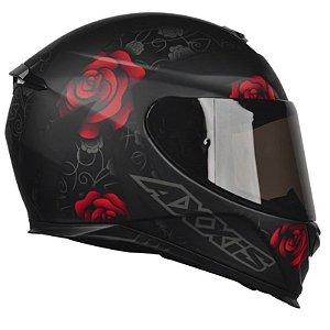 Capacete Axxis Eagle Flowers - Preto/Vermelho Fosco