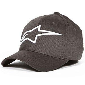 Boné Alpinestars Logo Astar Flexfit - Cinza Escuro/Branco