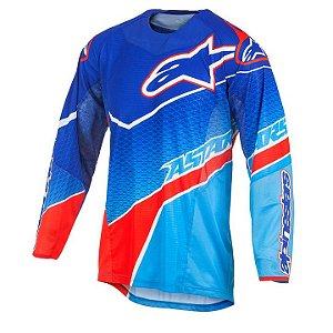 Camisa Motocross Alpinestars Techstar Venon 17 Azul Vermelha