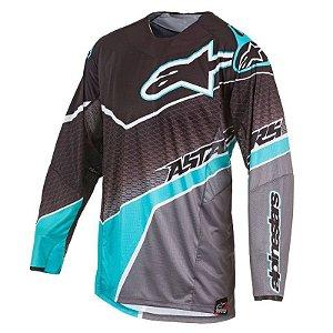 Camisa Motocross Alpinestars Techstar Venon 17 Preto Cinza