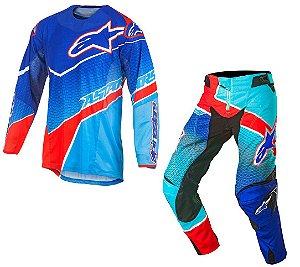 Conjunto Motocross Alpinestars Techstar Venon 17 Azul Vermel
