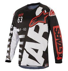 Camisa Motocross Alpinestars Racer Braap 18 Branca Preta