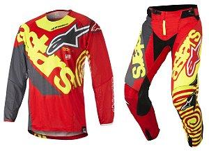 Conjunto Cross Motocross Alpinestars Techstar Venon 18 Verme