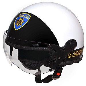Capacete Aberto Kraft Plus Sheriff Branco E Preto