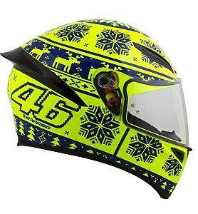 Capacete AGV K1 Winter Test 15 - Amarelo/Azul - Valentino Rossi