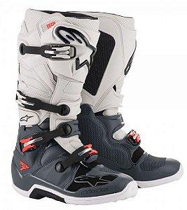 Bota Motocross Alpinestars Tech 7 Cinza Branco Vermelho