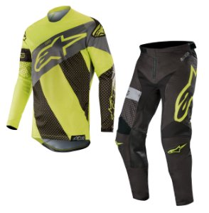 Conjunto Cross Alpinestars Tech Atomic 2019 Preto Amarelo