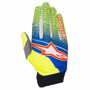 Luva Motocross Alpinestars Aviator 17 Amarela Azul Off Road