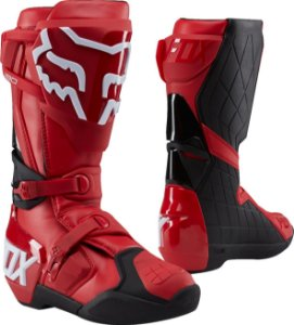 Bota Cross Motocross Off Road Fox 180 Vermelha e Branca