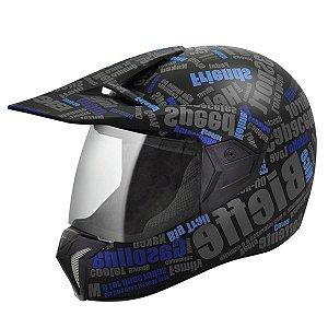 Capacete Bieffe 3 Sport Mirror - Preto/Azul Fosco