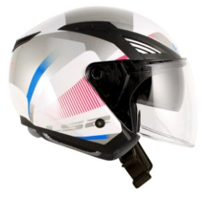 Capacete Ls2 OF586 Tyrell Branco Rosa