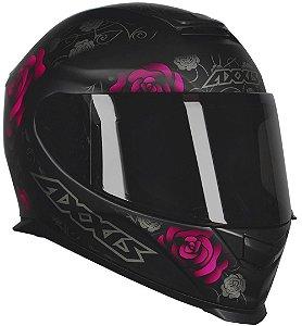 Capacete Axxis Eagle Flowers - Preto/Rosa Fosco
