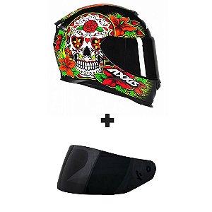 Capacete Axxis Eagle Skull - Preto/Amarelo + Viseira Fumê