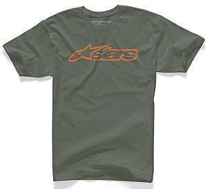 Camiseta Alpinestars Blaze Classic Tee Verde Laranja