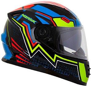 Capacete Norisk FF302 Wizard - Preto/Azul/Vermelho/Verde
