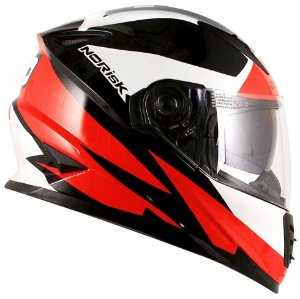 Capacete Norisk FF302 Ridic - Preto/Branco/Vermelho