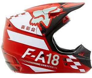Capacete de Motocross Infantil FOX V1 sayak YTH Vermelho RED