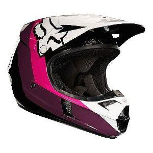 Capacete Motocross Infantil FOX V1 Halyn YTH Preto Rosa Brc