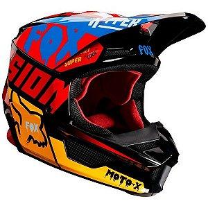 Capacete de Motocross Infantil FOX V1 MVRS Czar Vermelho Pto