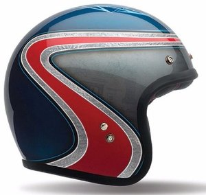 Capacete Bell Custom 500 Airtrix Heritage - Azul/Vermelho/Cinza