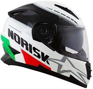 Capacete Norisk FF302 Grand Prix Italy - Branco/Verde/Vermelho