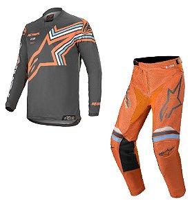 Conjunto Alpinestars Racer Braap 2020 - Laranja/Cinza