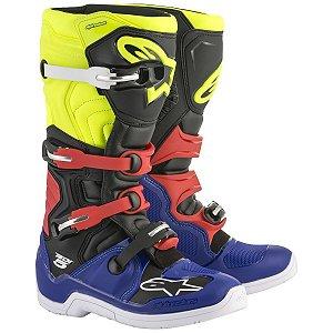 Bota Motocros Alpinestars Tech 5  Preta Azul vermelha amarel