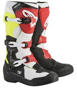 Bota Motocross Alpinestars Tech 3 - Preta/Vermelha/Amarela