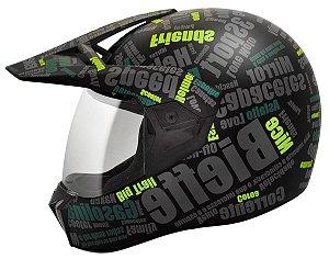 Capacete Bieffe 3 Sport Mirror - Preto/Verde Fosco