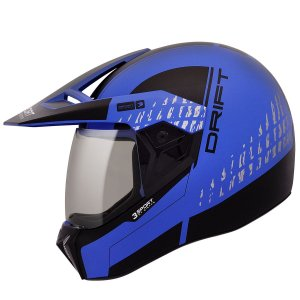 Capacete Bieffe 3 Sport Drift Azul Fosco Preto Cross