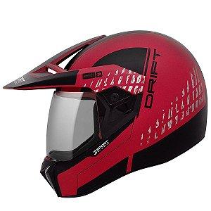 Capacete Bieffe 3 Sport Drift Vermelho Fosco Preto Cross