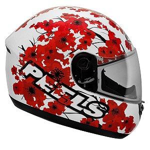 Capacete Peels Spike Blossom Branco Vermelho