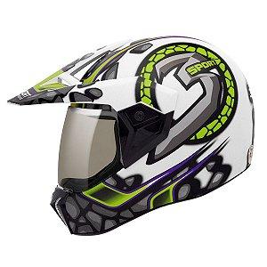 Capacete Bieffe 3 Sport Stones Branco Verde Motocross