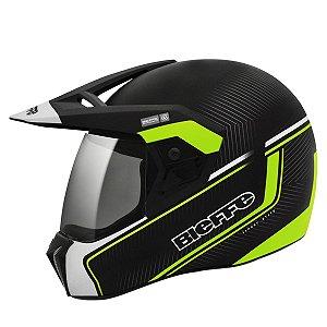 Capacete Bieffe 3 Sport Stato Preto Verde Fosco Motocross