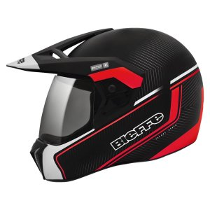 Capacete Bieffe 3 Sport Stato Preto Vermelho Motocross