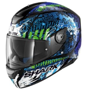 Capacete Shark D-Skwal Switch Rider 2 KBG - Preto/Azul/Verde
