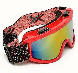 Óculos Motocross Mattos Vermelho Lente Espelhada Trilha