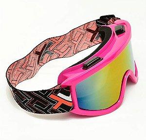 Oculos Motocross Mattos Pink Rosa Lente Espelhada Trilha