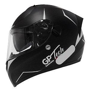 Capacete Gp Tech V128 City - Preto/Branco Fosco (Óculos solar)