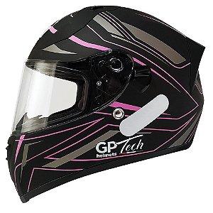 Capacete Gp Tech V128 Ride - Preto/Rosa Fosco (Óculos solar)