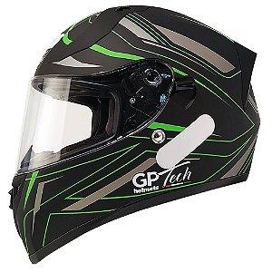 Capacete Gp Tech V128 Ride - Preto/Verde Fosco (Óculos solar)